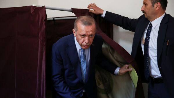 Реџеп Тајип Ердоган на гласачком месту - Sputnik Србија