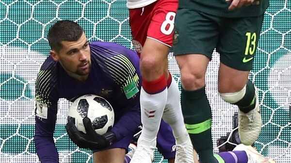 Golman reprezentacije Australije Metju Rajan na utakmici Danska-Australija na Svetskom prvenstvu u fudbalu - Sputnik Srbija