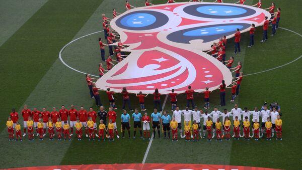 Играчи Француске и Данске на почетку утакмице Светског првенства у фудбалу - Sputnik Србија