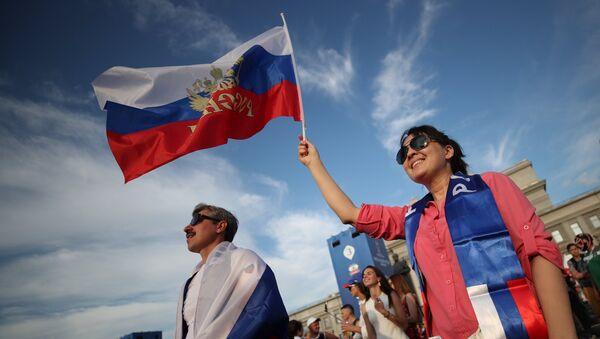 Navijači Rusije proslavljaju pobedu nad Španijom - Sputnik Srbija