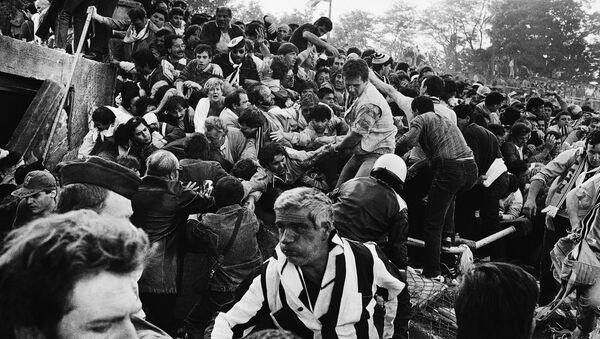 Navijači Juventusa na stadionu Hejsel uoči pada zida 29. maja 1985. - Sputnik Srbija