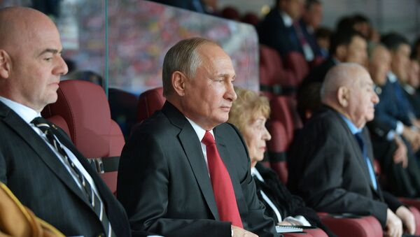 Vladimir Putin u loži tokom Mundijala - Sputnik Srbija