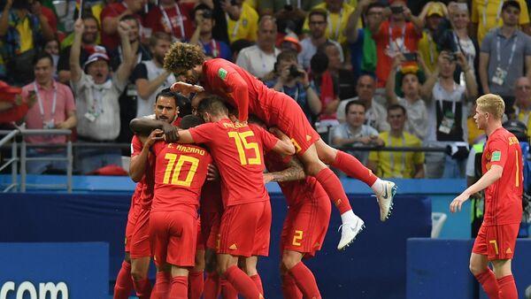 Прослава репрезентативаца Белгије након гола у утакмици четвртфинала против Бразила - Sputnik Србија