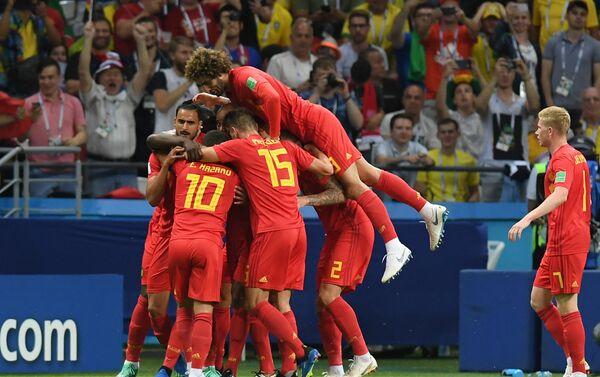 Proslava reprezentativaca Belgije nakon gola u utakmici četvrtfinala protiv Brazila - Sputnik Srbija