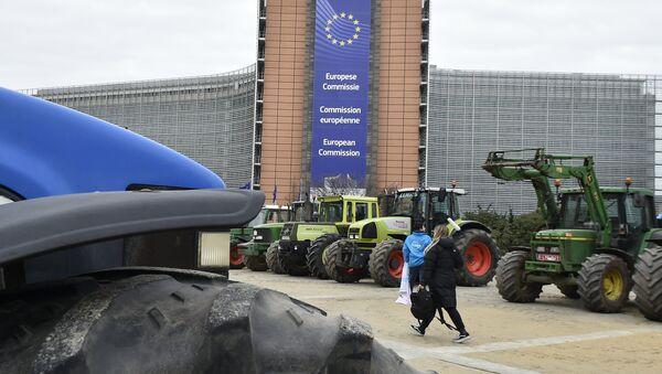 Protest poljoprivrednika ispred sedišta Evropske komisije u Briselu - Sputnik Srbija