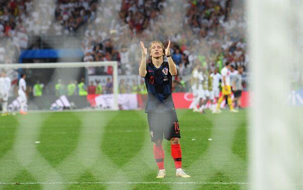Luka Modrić proslavlja pobedu nad Engleskom i plasman u finale - Sputnik Srbija