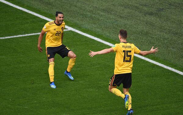 Reprezentativci Belgije proslavljaju gol u borbi protiv Engleske za treće mesto - Sputnik Srbija