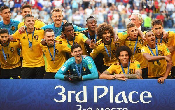 Reprezentativci Belgije proslavljaju pobedu nad Engleskom u borbi za bronzu - Sputnik Srbija