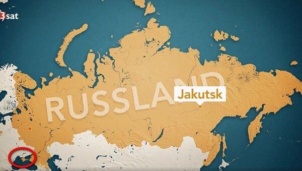Karta Rusije prikazana na nemačkom televizijskom kanalu 3Sat, na kojoj je Krim obojen kao i ostatak ruske teritorije - Sputnik Srbija