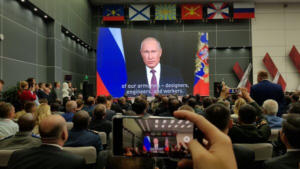 Ruski predsednik Vladimir Putin se obraća prisutnima na forumu Armija 2018. - Sputnik Srbija