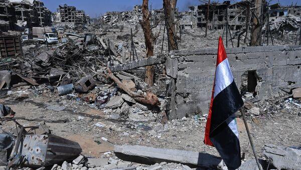 Uništene zgrade na teritoriji bivšeg kampa za palestinske izbeglice Jarmuk u Siriji, nakon oslobođenja od terorista DAEŠ-a - Sputnik Srbija