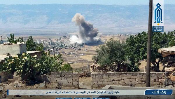 Mesto vazdušnih napada ruske acijacije na teroriste u sirijskoj provinciji Idlib. - Sputnik Srbija