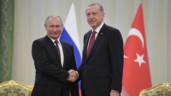 Председници Русије и Турске, Владимир Путин и Реџеп Тајип Ердоган, на састанку у Техерану - Sputnik Србија