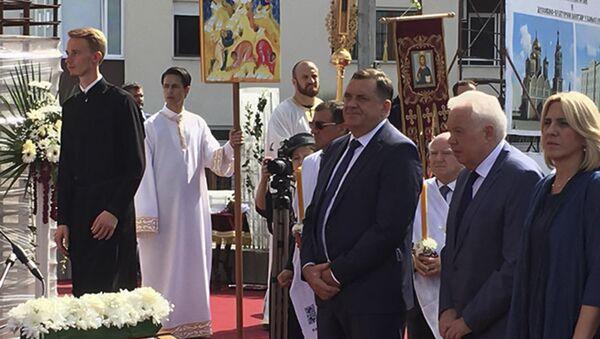 Predsednik RS Milorad Dodik na osveštavanju temelja Srpko-ruskog hrama u Baljalici - Sputnik Srbija