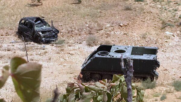 Uništena tehnika u bazi terorista Nusra fronta na granici Sirije i Libana - Sputnik Srbija