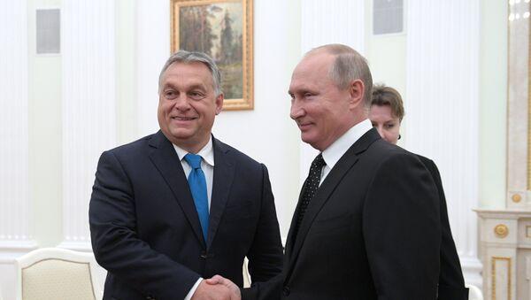 Sastanak ruskog predsednika Vladimira Putina sa mađarskim premijerom Viktorom Orbanom - Sputnik Srbija