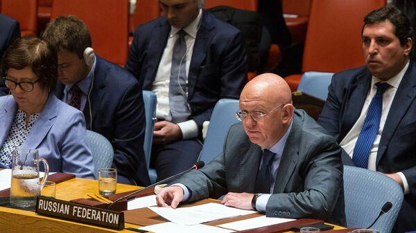 Stalni predstavnik Rusije u UN Vasilij Nebenzja na zasedanju Saveta bezbednosti UN o Siriji - Sputnik Srbija