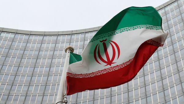 Иранска застава испред зграде Међународне агенције за атомску енергију (ИАЕА) у Бечу - Sputnik Србија