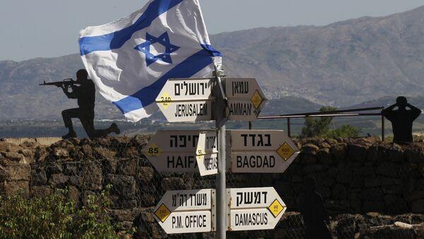 Izraelska zastava u oblasti Golanskih visoravni na teritoriji pod kontrolom Izraela - Sputnik Srbija