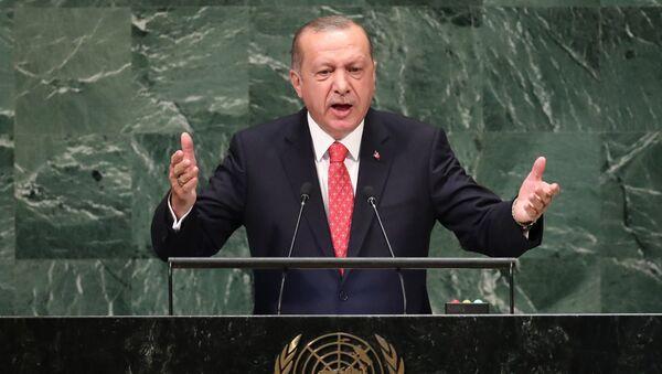 Predsednik Turske Redžep Tajip Erdogan na zasedanju Generalne skupštine UN - Sputnik Srbija