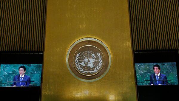 Japanski premijer Šinzo Abe obraća se učesnicima 73. zasedanja Generalne skupštine Ujedinjenih nacija u Njujorku - Sputnik Srbija