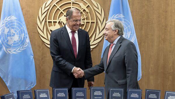 Министар спољних послова Русије Сергеј Лавров и генерални секретар УН Антонио Гутереш на маргинама Генералне скупштине УН у Њујорку - Sputnik Србија