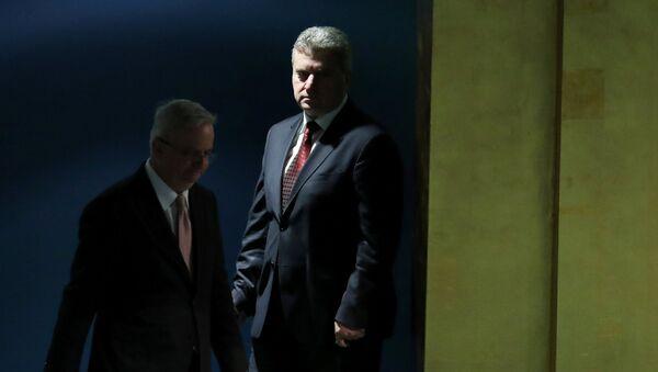 Predsednik Makedonije Đorđe Ivanov ulazi u salu UN - Sputnik Srbija