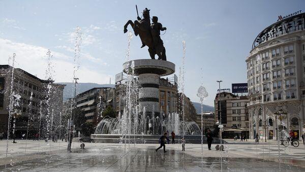 Fontana na trgu u Skoplju. - Sputnik Srbija