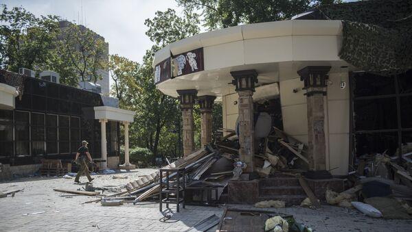 Uništeni kafić Separ u Donjecku u kojem je u eksploziji poginuo lider DNR Aleksandar Zaharčenko - Sputnik Srbija