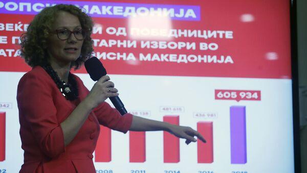 Radmila Šekerinska na prezentaciji rezultata referenduma u Vladi Makedonije - Sputnik Srbija