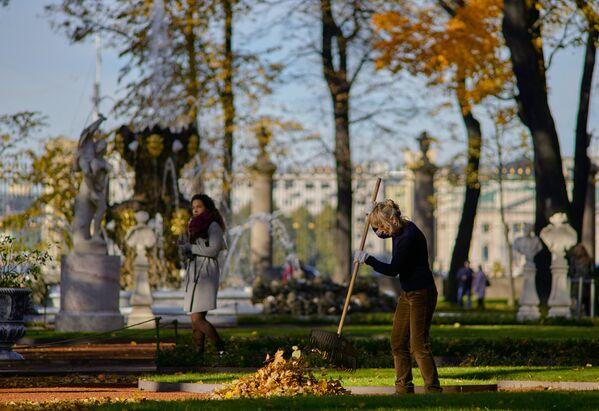 Opalo lišće u Letnjem sadu u Sankt Peterburgu - Sputnik Srbija