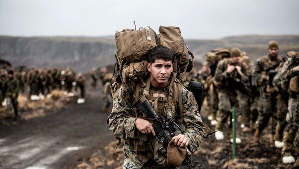 Припадници 24. маринске јединице на војним вежбама Спој трозупца 2018 на Исланду - Sputnik Србија
