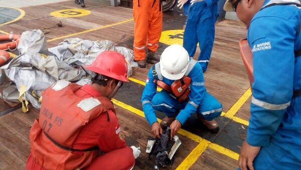 Радници, који учествују у акцији спасавања после авионске несреће, прегледају остатке за које се сумња да потичу од авиона компаније Лајон Ер - Sputnik Србија