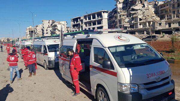 Vozila hitne pomoći u istočnom Alepu - Sputnik Srbija