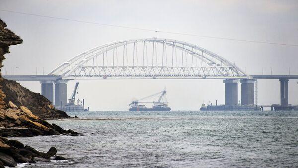Brodovi prolaze ispod Krimskog mosta nakon obnavljanja plovidbe u Kerčkom moreuzu - Sputnik Srbija