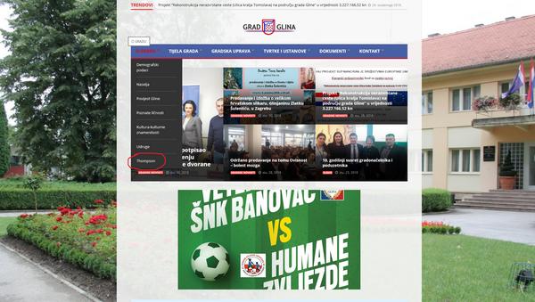 Насловна страна званичне веб презентације града Глина у Хрватској - са рубриком о Томпсону - Sputnik Србија