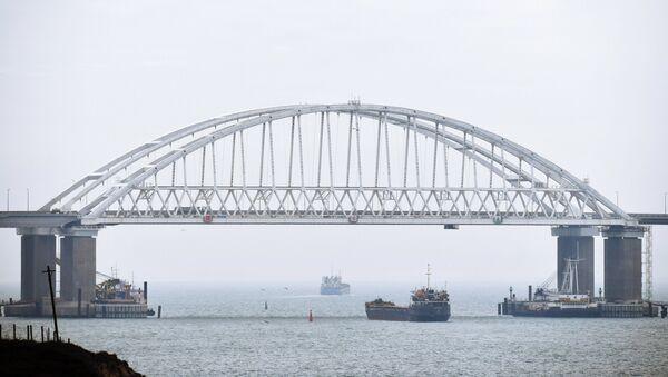 Prolazak brodova ispod Krimskog mosta u Kerčkom moreuzu - Sputnik Srbija