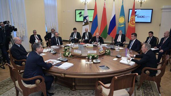 Predsednik Rusije Vladimir Putin na zasedanju Vrhovnog Evroazijskog ekonomskog saveta - Sputnik Srbija