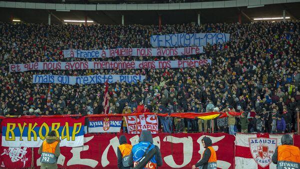 Poruka navijača Crvene zvezda na utakmici sa Pari Sen Žermenom - Sputnik Srbija