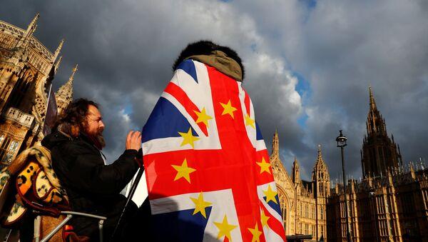 Анти-брегзит демонстрант са заставом Велике Британије са ЕУ звездицама испред зграде парламента у Лондону, 12. децембра 2018. - Sputnik Србија
