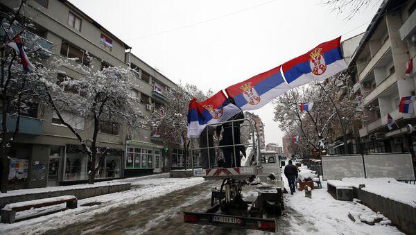 Srpske zastave u severnoj Kosovskoj Mitrovici - Sputnik Srbija