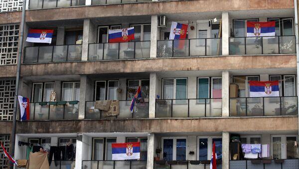 Srpske zastave na terasama u Severnoj Kosovskoj Mitrovici - Sputnik Srbija