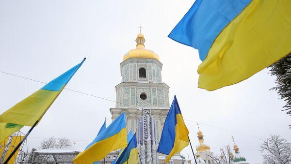 Ukrajinske zastave na ujediniteljskom saboru u Kijevu - Sputnik Srbija