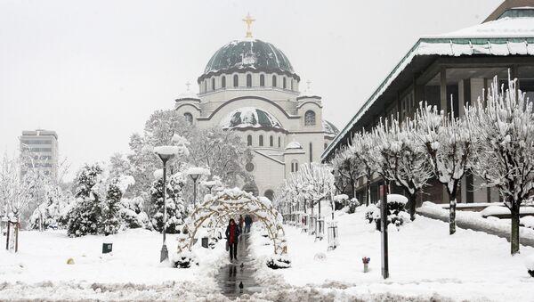 Hram Svetog save pod snegom - Sputnik Srbija