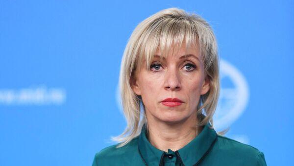 Портпаролка Министарства спољних послова Русије Марија Захарова током редовног брифинга - Sputnik Србија