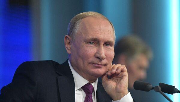 Председник Русије Владимир Путин на годишњој великој конференцији за медије у Москви - Sputnik Србија