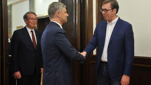 Aleksandar Vučić i Oleg Belozjorov - Sputnik Srbija
