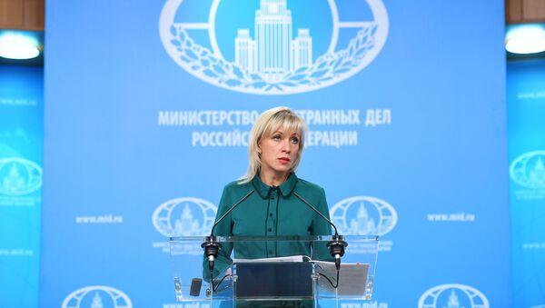 Портпарол Министарства спољних послова Русије Марија Захарова на редовном брифингу - Sputnik Србија