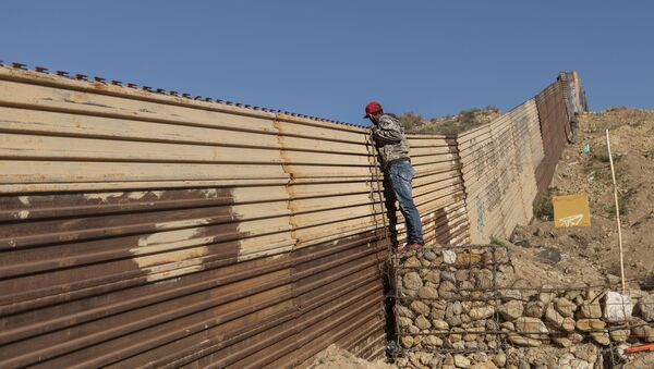 Мигрант из Хондураса гледа преко ограде на граници између САД и Мексика - Sputnik Србија