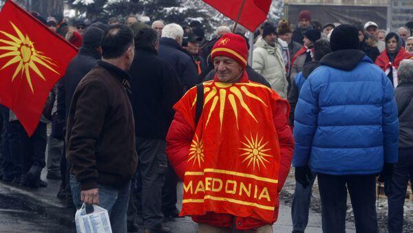 Protest ispred Sobranja zbog promena imena Makedonije - Sputnik Srbija